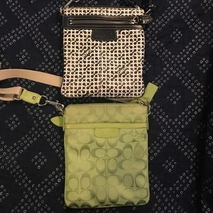 Lime green Coach crossbody purse
